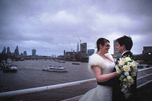 What an exciting, adventurous day we had setting up this beautiful winter wedding at Kings College, The Strand.